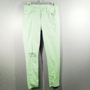 SALE:7 FOR ALL MANKIND GREEN JEANS DISTRESS  26/29